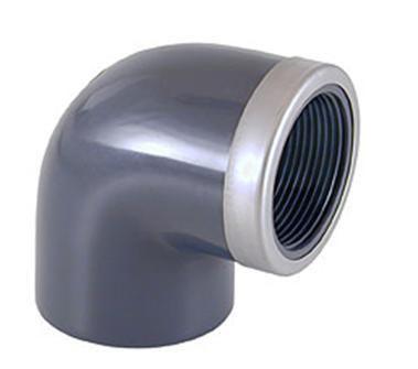 Отвод переходной ПВХ 90° клеевое соединение / внутренняя резьба усиленный стальным кольцом CEPEX