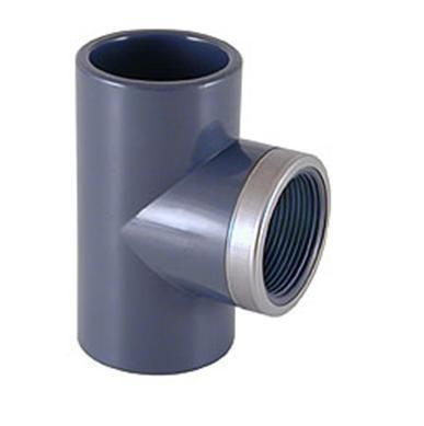 Тройник переходной ПВХ клеевые соединения / внутренняя резьба усиленный стальн. кольцом CEPEX
