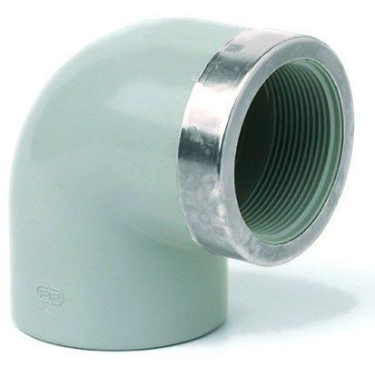 Отвод 90° усиленный с внутренней пластиковой резьбой ХПВХ Corzan®
