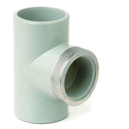 Тройник усиленный с внутренней пластиковой резьбой ХПВХ Corzan®