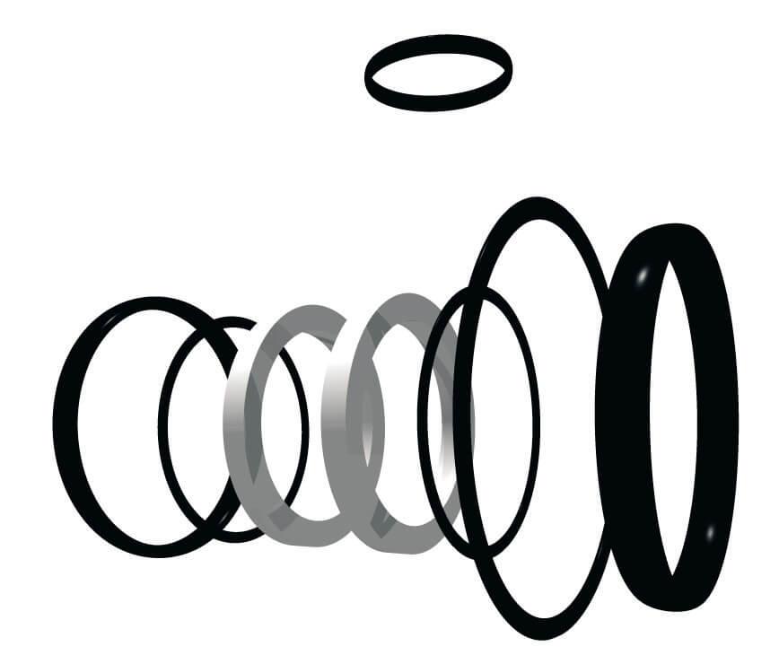 Комплект уплотнительных колец FPM для шаровых кранов ПВХ Comer, Италия